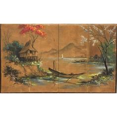 "Vintage 56"" W Asian Hand Painted Screen Wall Art ($600) ❤ liked on Polyvore featuring home, home decor, wall art, tree home decor, tree wall art, wall screen, landscape wall art and landscape oil painting"