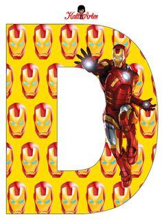 EUGENIA - KATIA ARTES - BLOG DE LETRAS PERSONALIZADAS E ALGUMAS COISINHAS: Homem de Ferro Alfabeto e Números Iron Man Party, Iron Man Birthday, Alphabet And Numbers, Note Paper, Avengers, Letter D, Banner, Symbols, Blog