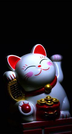 Lucky Wallpaper, Iphone Wallpaper Images, Cat Wallpaper, Cellphone Wallpaper, Phone Wallpapers, Neko Cat, Maneki Neko, Wiccan Symbols, Japanese Cat