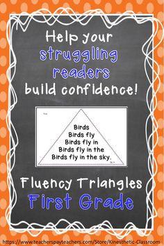 Reading Fluency Activity Fluency Triangles® for First Grade Sight Words RTI Reading Fluency Activities, Reading Tutoring, Reading Intervention, Reading Strategies, Reading Skills, Teaching Reading, Reading Comprehension, Guided Reading, Teaching Tools