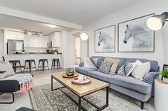 Modern Scandinavian styling for a 2 bedroom condo Living room. Furniture, Decor, Design, Accessories, Grey, Neutral