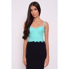 Rare London Mint Crochet Bralet ($15) ❤ liked on Polyvore featuring tops, rare london, crochet bralette top, blue crochet top, mint green top and macrame top