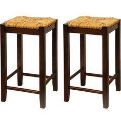 "Rush Seat Counter Stools 24"", Set of 2, Antique Walnut - Walmart.com"