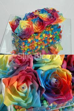 Rosetta - Table Vibrant Multi-Coloured Rainbow Wedding Floral Vase Arrangement