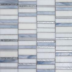 Oceanside Glasstile - Devotion - Silver Cloud Blend Zest pattern Gosh White, Bright White, Light Smoke, Silver Leaf