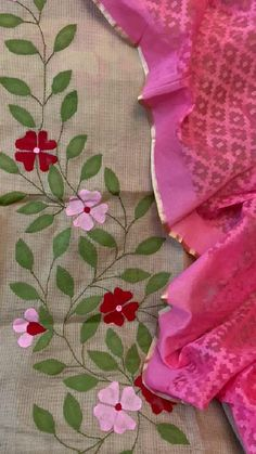 Hand Embroidery Tutorial, Embroidery Flowers Pattern, Flower Patterns, Embroidery Stitches, Blooming Flowers, Applique Designs, Fabric Painting, Indian Fashion, Hand Painted