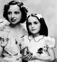 Child star: Taylor was groomed for stardom by her domineering mother Sara, pictured here together in 1937