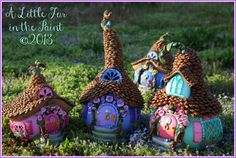 Another View. I did find her explanation of how to place the pinecone roof on the gourd on her 2012 blog! These are soooo cute! She does great work!