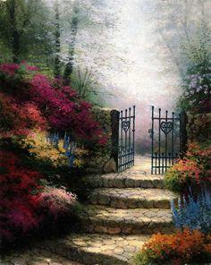 Thomas Kinkade Garden Of Promise Painting