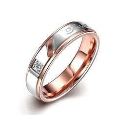 Mens Womens Classic Black 7MM Wedding Bands 316L Titanium Stainless Steel Rose Gold Plated Forever Love Promise... -- Visit the image link more details.
