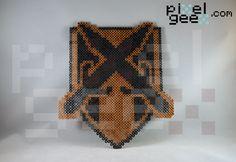Perler bead sprite by Pixel Geex of Riften sigil in Skyrim http://www.pixelgeex.com/skyrim-map-markers/