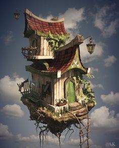 ArtStation - The flying house, Anastasiya Konkina 3d Fantasy, Fantasy House, Fantasy Landscape, Fantasy Artwork, Fantasy World, Arte Steampunk, Arte Robot, Photo D Art, House Illustration
