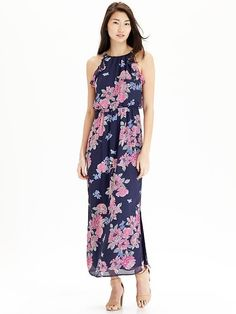 Women's Floral Chiffon Maxi Dresses Product Image