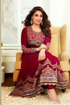 #Bipasha #Basu Suit-Pink Faux Georgette #Anarkali #Suit with Resham Embroidery and Lace Work - Rs. 4,299/-.  #Zohraa