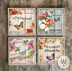 ON SALE Butterfly Coasters,  French Market Style on Ceramic Tile Coasters, Handmade Shabby Chic Hot and Cold Bar Coasters, Flowers, Made To