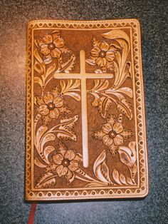 Custom Hand-tooled Leather Bible Cover.-SR
