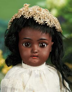"14"" German Brown-Complexioned Bisque Doll, 1079, by Simon and Halbig~~~Marks: S&H 1079 4 1/2 dep Germany. Comments: Simon and Halbig, circa 1900. Value Points: beautiful wide-eyed girl with flawless complexion, original body and body finish, original wig."