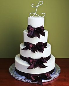 Image detail for -Ribbons & Bows Wedding Cakes Bow Wedding Cakes, Wedding Bows, Monogram Wedding, Wedding Ideas, Bow Cakes, Cupcake Cakes, Cupcakes, Monogram Cake Toppers, Purple Wedding Bouquets