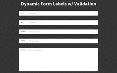 Dynamic Animated Input Labels for Website Forms