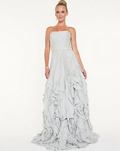 Chiffon Sweetheart Ball Gown - A sweetheart neckline transitions into graceful chiffon waves for a beautiful effect. Wedding Attire, Wedding Dresses, Strapless Dress Formal, Formal Dresses, One Shoulder Wedding Dress, Ball Gowns, Chiffon, Closet, Women