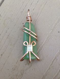 Green jade solid gemstone heart chakra wite wrapped brass pendant  on Etsy, $27.00
