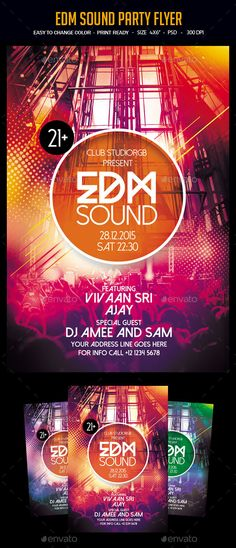 EDM Sound Party Flyer Template PSD #design Download: http://graphicriver.net/item/edm-sound-party-flyer/12842115?ref=ksioks