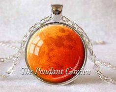 HARVEST MOON PENDANT Orange Moon Necklace Halloween Moon Eclipse Moon Orange Red and Silver Planet Jewelry Blood Moon Astronomer Gift by ThePendantGarden on Etsy https://www.etsy.com/listing/127199225/harvest-moon-pendant-orange-moon