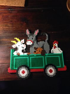 Farm animals hama perler beads by Dorte Marker Fuse Bead Patterns, Perler Patterns, Beading Patterns, Hama Perler, Perler Bead Mario, Farm Animal Crafts, Farm Animals, Pearler Beads, Fuse Beads