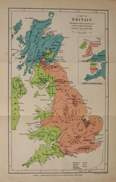 A map of Britain, showing the relative position of its chief peoples during the Roman Occupation. Celtic BritainSir John RhysLondon: Society...