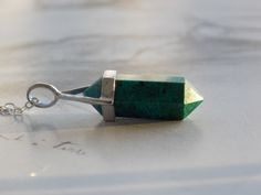 Chrysocolla Double Point Crystal Pendant Necklace, Sterling Silver, Gemstone Necklace, Healing Crystal, Modern, Minimalist by kalypsocreations on Etsy