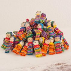 Novica Set of 100 Handmade Cotton 'The Worry Doll Clan' Figurines (Guatemala) (Solid), Orange Diy And Crafts, Crafts For Kids, Arts And Crafts, Recycled Crafts, Art Projects, Projects To Try, Guatemala, Worry Dolls, Little Doll