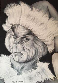 The Grinch original drawing . Cool Art Drawings, Amazing Drawings, Pencil Art Drawings, Art Drawings Sketches, 3d Pencil Art, Christmas Sketch, Christmas Drawing, Christmas Art, Jim Carrey