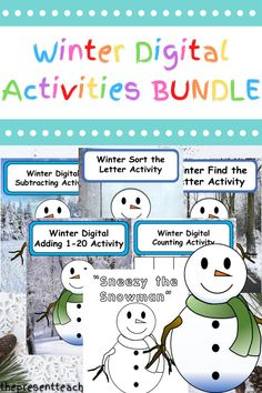"Are you distance learning, hybrid teaching, or learning virutally and need some fun and engaging digital activities? These winter fun activities are perfect for Kindergarten, 1st Grade, and PreK students. Students learn or review how to add, subtract, count with one to one correspondence, and practice letter recognition with this winter bundle. Inspired by ""Sneezy the Snowman,"" students can drag and drop answers in an easy and engaging way. Click now to read more. @thepresentteacher"