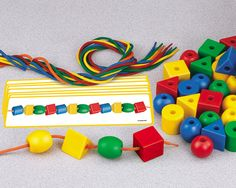 lacing beads & pattern cards, easy to DIY and would help teach patterns