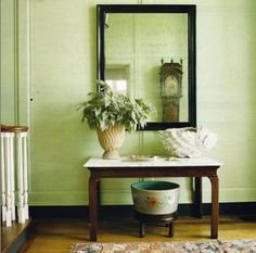 Traditional Style Hallway With Celery Green Walls
