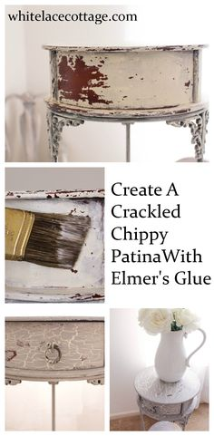 Create a crackled distressed look using Elmer& glue. This technique is super easy to do and it& so affordable too! Supplies needed:Glue and chalk paint. Paint Furniture, Furniture Projects, Furniture Makeover, Redoing Furniture, Decoupage Furniture, Building Furniture, Furniture Removal, White Furniture, Wood Projects