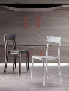 Chaise de salle à manger empilable design BADOU, coloris taupe, sable ou blanc, Chaise de salle à