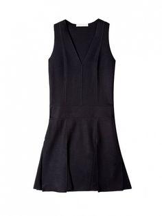 This little black number is simply timeless // Vanessa Bruno Drape De Laine Drop Waist V-Neck Dress in Black