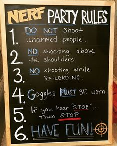 Nerf party rules You are in the right place about Nerf Gun Cake. Best Picture For Nerf Gun Cake ea Nerf Birthday Party, Nerf Party, Boy Birthday, 9th Birthday Party Ideas For Boys, Boys Party Ideas, Birthday Games, 12th Birthday, Party Rules, Party Fiesta