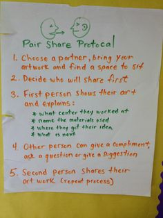 """Good idea previous pinner wrote below. """"The last 5 minutes of each class is spent in some type of reflection/critique. Pair-Share, turn and talk, exit slips, journaling, small group critique. Art Classroom Posters, Art Room Posters, Art Classroom Management, Classroom Organization, Classroom Ideas, Art Education Lessons, Art Lessons Elementary, Art Rubric, Rubrics"""