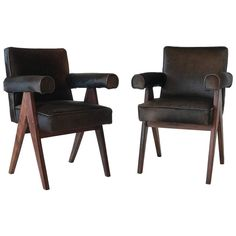 Pair of Pierre Jeanneret Armchairs PJ-SI-30-C in Rosewood and Hide | From a unique collection of antique and modern armchairs at https://www.1stdibs.com/furniture/seating/armchairs/