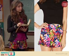Riley's floral shorts on Girl Meets World. Outfit Details: http://wornontv.net/36941/ #GirlMeetsWorld