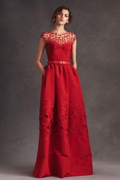 A red silk faille gown from Oscar de la Renta's resort 2016 collection. Photo: Oscar de la Renta