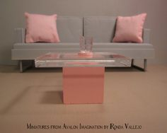 Miniature dollhouse modern wood and acrylic side table in pink one inch or play scale