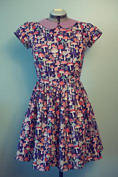 Handmade Whimsical Cute Vintage Style Dress with Mushroom
