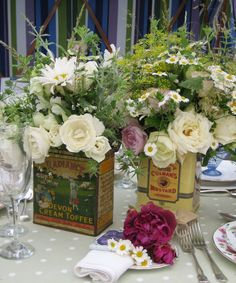 vintage tins with flowers