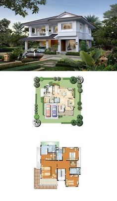 Land and houses home - layout in 2019 bungalow house design, house floor de Contemporary House Plans, Modern House Plans, Small House Plans, Bedroom House Plans, Dream House Plans, House Floor Plans, Architectural Design House Plans, Architecture Design, Casas Country