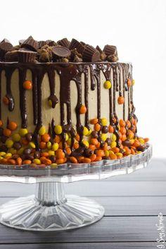 Chocolate and Peanut Butter Drip Cake - I Say Nomato Nightshade Free Food Blog Desserts Recipe