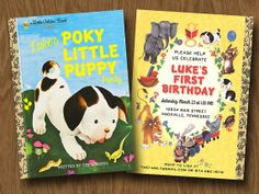Little Golden Books Inspired Birthday Invitation - Poky Little Puppy - Book Shower - Book Party - Birthday on Etsy, $18.00
