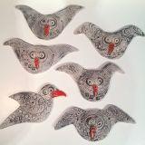 Veggfisk og Veggfugl i keramikk - komponer din egen vegg - ute eller inne! Kr 300 pr stk. Få bilde av dagens fangst her!